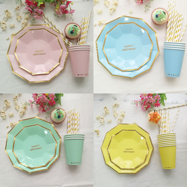 8pcs Candy Color Gold Edge Tableware Polygon Happy Birthday Party Supplies Paper Plate Cups