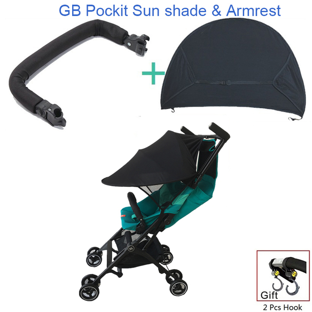 1:1 GB Pockit plus Stroller Accessories Armrest Handrail & Sun Shade & Hook For Goodbaby Pockit + Stroller GB QBIT Stroller