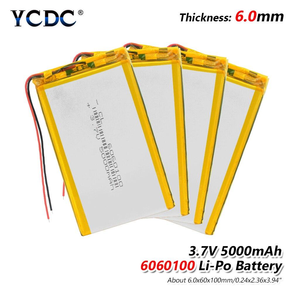 1/2/4x Baterias de Iões de lítio Li Po Bateria de Polímero de Lítio 3 7 v Lipo Li Ion De Lítio Recarregável -íon 6060100 5000 mah Bateria Substituir