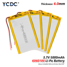 1/2/4x Li Po Li-ion Batteries Lithium Polymer Battery 3 7 V Lipo Ion Rechargeable Lithium-ion 6060100 5000mAh Bateria Replace