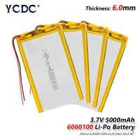 1/2/4x Li Po baterías de Li-ion batería de polímero de litio de 3 7 V Lipo ion-litio recargable de Litio-ion 6060100 5000mAh Bateria reemplazar