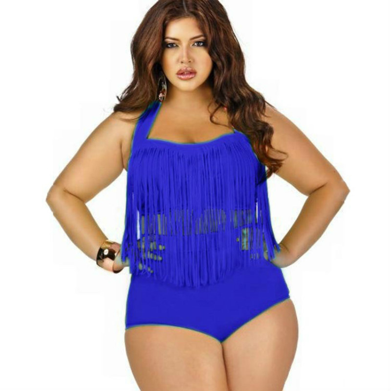 04d6b2bc09d70 WATER PRINCESS Plus Size Two Piece Swimwear Women Tassel Beach wear High  Waist Bandeau Bikinis Set Breast Padded Bathing Suit -in Two-Piece Suits  from ...