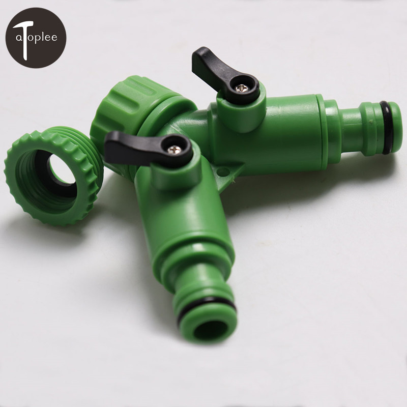 2PCS Garden Hose Pipe Tube Splitter 2 Way Connector Drip Hose Y Adaptor Tap Quick Turn Off Watering Tool air compressor 1 2bsp 2 way hose pipe inline manifold block splitter teal blue