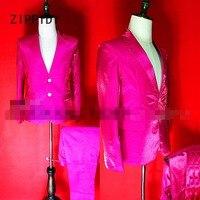 Новый High End Светоотражающие розовый или Голубой атласной Для мужчин пиджак и брюки ночной клуб бар DJ певец шоу на сцене наряд костюм комплек