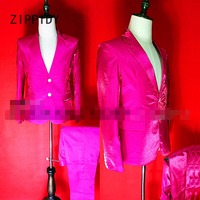 New High end Reflective pink or blue Satin Men's Suit Jacket And Pant Nightclub Bar Dj Male Singer Stage show outfit Costume Set