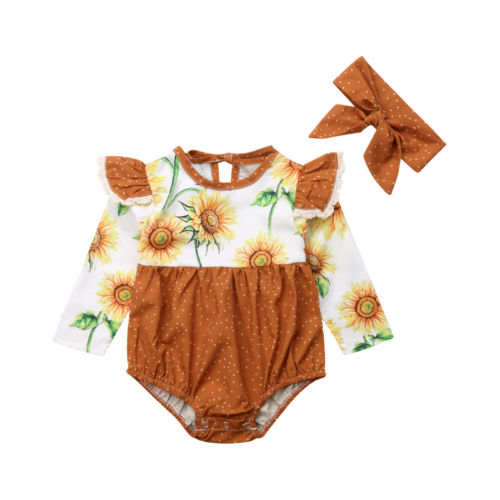 7f11d5a1aa4 Newborn Baby Girl Sunflower Fly Sleeve Long Sleeve Romper Jumpsuit Headband Outfits  Clothes-in Clothing Sets from Mother   Kids on Aliexpress.com