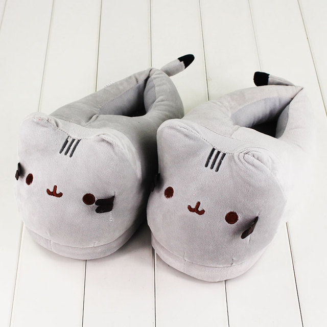 1c6c8497191 1 pair Cat Plush Slippers Anime Kawaii Soft Plush Winter Warm Slippers  Cotton Indoor Hourse Slippers