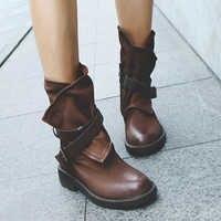 Moda Médio Botas Militares Mulheres Fivela Sapatos De Retalhos de Couro Artificial sapatos mulheres Meados de Bezerro Botas de conforto Feminino