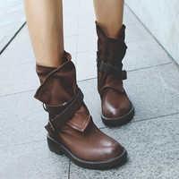 Moda militar médio botas femininas fivela de couro artificial retalhos sapatos sapatos mulheres conforto feminino meados de bezerro botas