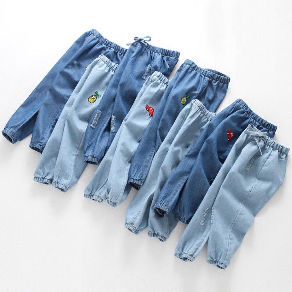 Bebê menina menino dos desenhos animados buraco denim calças compridas cintura elástica calças de brim anti-mosquito harem calças infantis crianças roupas de moda verão