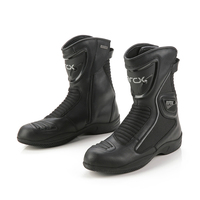 ARCX Motorcycle Boots Genuine Cow Leather Moto Boots Waterproof Motocross shoes Men Motorcycle Racing Mid Calf Shoes Black