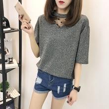 Summer wear new han edition net yarn splicing short sleeve T-shirt women feeling light silk  render unlined upper garment