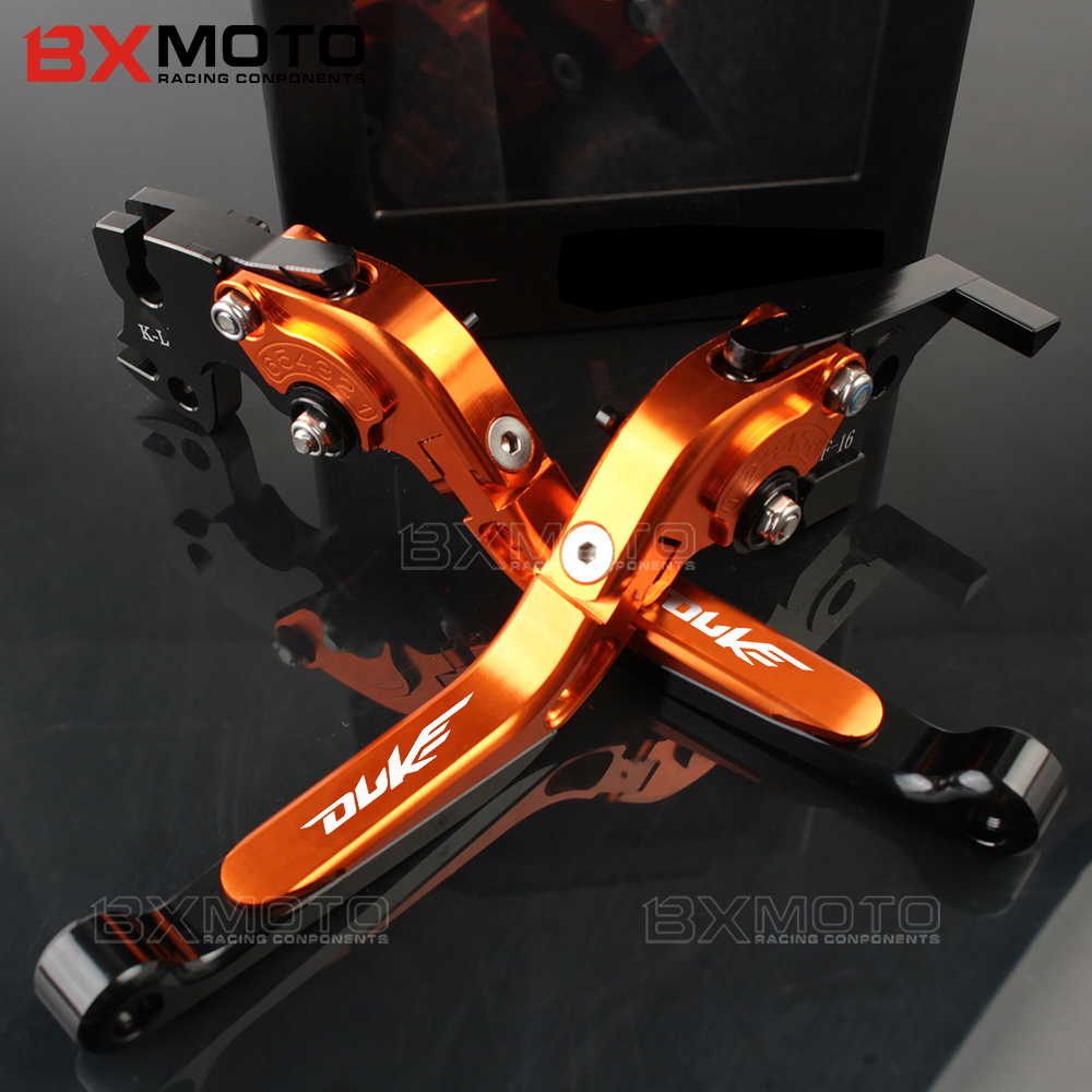 2017 Orange Color Motorcycle CNC Aluminum Adjustable Folding Extendable Brake Clutch Levers Fit For KTM Duke 125 200 390 RC390 bjmoto cnc aluminum wheel roller short brake clutch levers for ktm duke 390 2013 2018 duke 200 125 250 rc 125 200 2014 2018