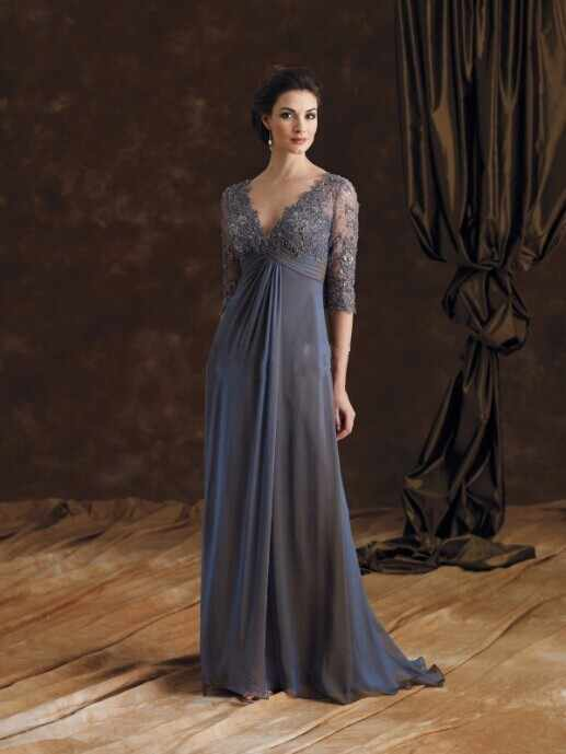 69c592b55872 Elegant Online Parties Modest Lace Income Empire/High Waist Grey Long Mother  of the Bride