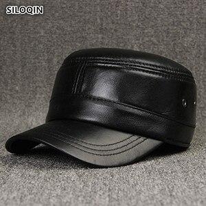 SILOQIN Зимняя шляпа из натуральной кожи Мужская овчина военные кепки Регулируемая Мужская кость Простой сплошной цвет дышащий плоская кепка