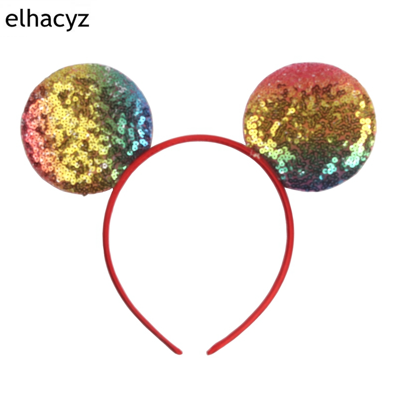 10pcs lot Minnie Mouse Ears Headband Summer Colorful Glitter Sequin Bow Headwear Kids Birthday Party Padded Ear Hair Accessories in Hair Accessories from Mother Kids