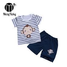 Summer Children Short Sleeve Sport Set Boys Cartoon Monkey Clothes Baby Girls Cotton T-Shirt Shorts Toddler Casual Clothing sets стоимость