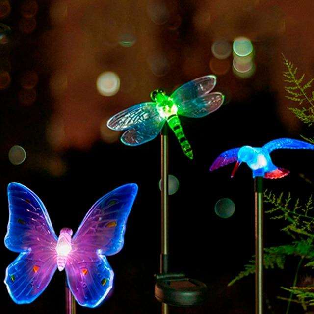 garden light dragonfly butterfly bird type outdoor solar lamp top sale