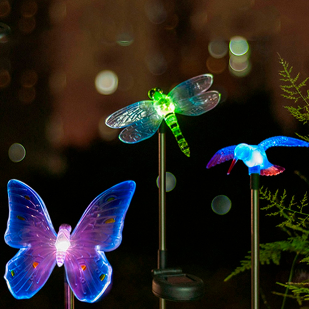 Waterproof led solar garden night light outdoor decorative lawn waterproof led solar garden night light outdoor decorative lawn lights color changing dragonfly butterfly bird path lamp in solar lamps from lights aloadofball Images