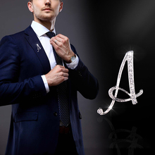 i-Remiel 2018 New Metal Crystal Brooch Pin for Men and Women English Letter Word Pins and Brooches Suit Shirt Collar Accessories