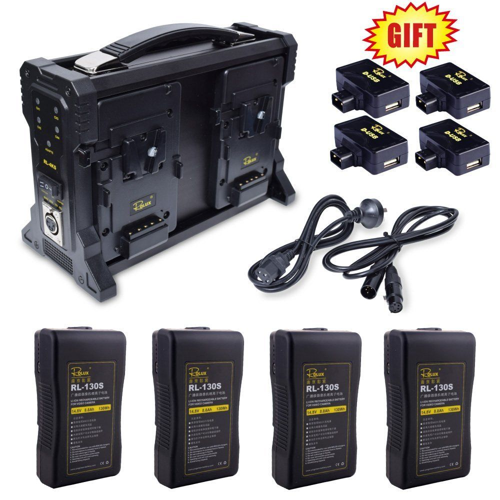 Rolux RL-4KS 4-Channel for Sony V-mount Battery Charger + 4PCS RL-130S Li-ion Battery Kit 3x high quality eleoption bp 190s power u 190wh v mount li ion battery for sony red one alexa with charger