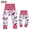ZiKa Matching Mother Daughter Pants High Waist Wapiti Pattern Children Pant Sports Family Matching Clothing Christmas Clothes