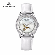 Reef Tiger Designer Fashion Diamonds Automatic Watch with White MOP Dial Steel Watches For Women RGA1550 reef tiger rt designer fashion womens watch with white mop dial diamonds automatic watches with calfskin leather rga1550