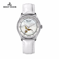 Reef Tiger Designer Fashion Diamonds Automatic Watch with White MOP Dial Steel Watches For Women RGA1550