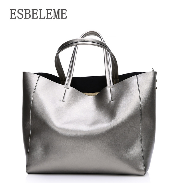 Fashion 2017 women real genuine leather women casual tote handbag large shoulder bags elegant ladies tote solid satchels YI078