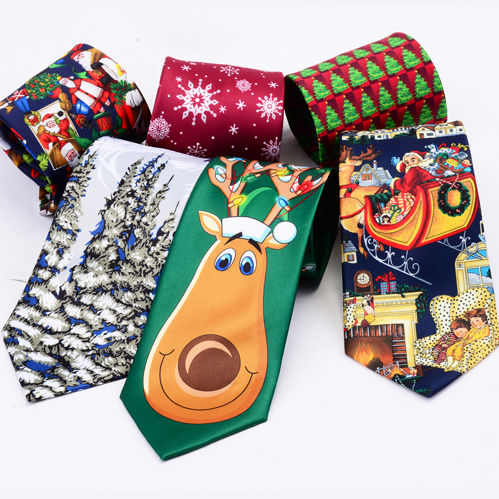 RBOCOTT Novelty Christmas Ties Santa Claus Snowflake Necktie Good Quality Printed Neck Ties 9cm Red Green For Festival Gift