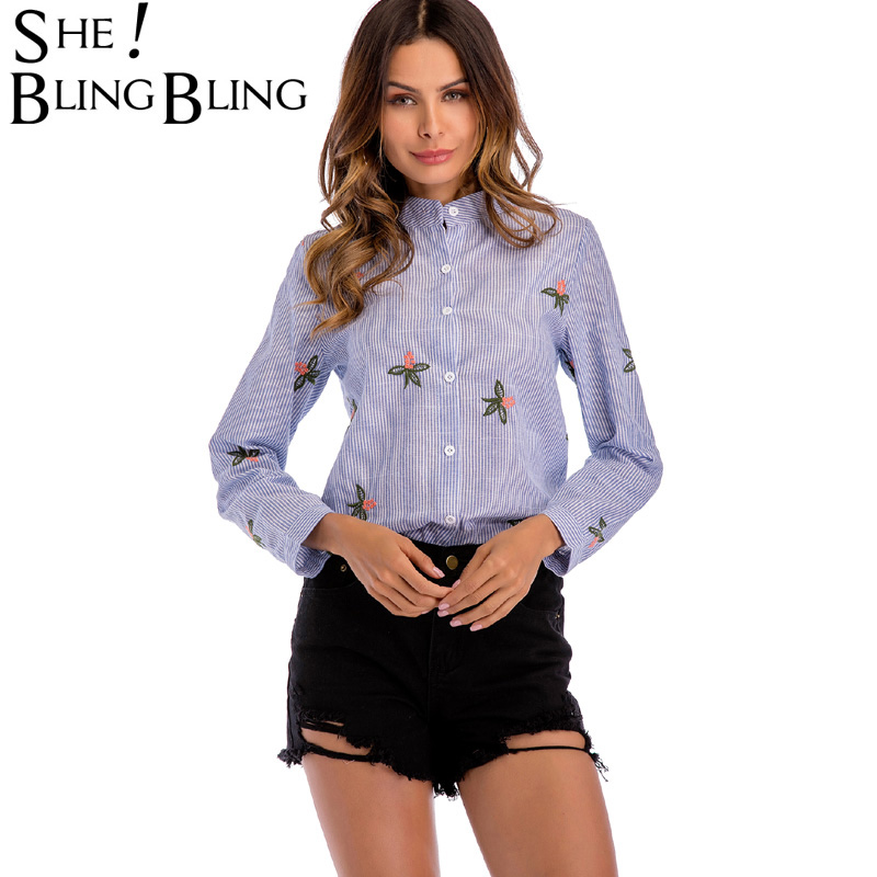 SheBlingBling Fashion Floral Embroidery Shirts Women Long Sleeve Stand Collar Striped Shirts Single Breasted Casual Shirts