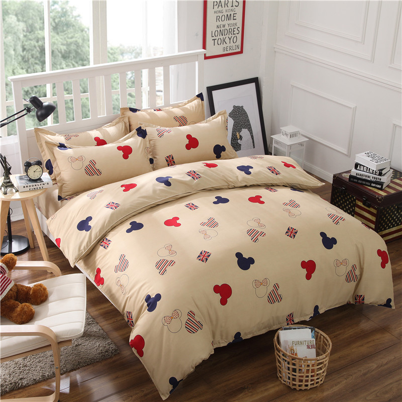 New fashion bedding set mickey and minnie Twin Full Queen King size duvet  cover bed sheet. Popular Mickey Bedding Buy Cheap Mickey Bedding lots from China