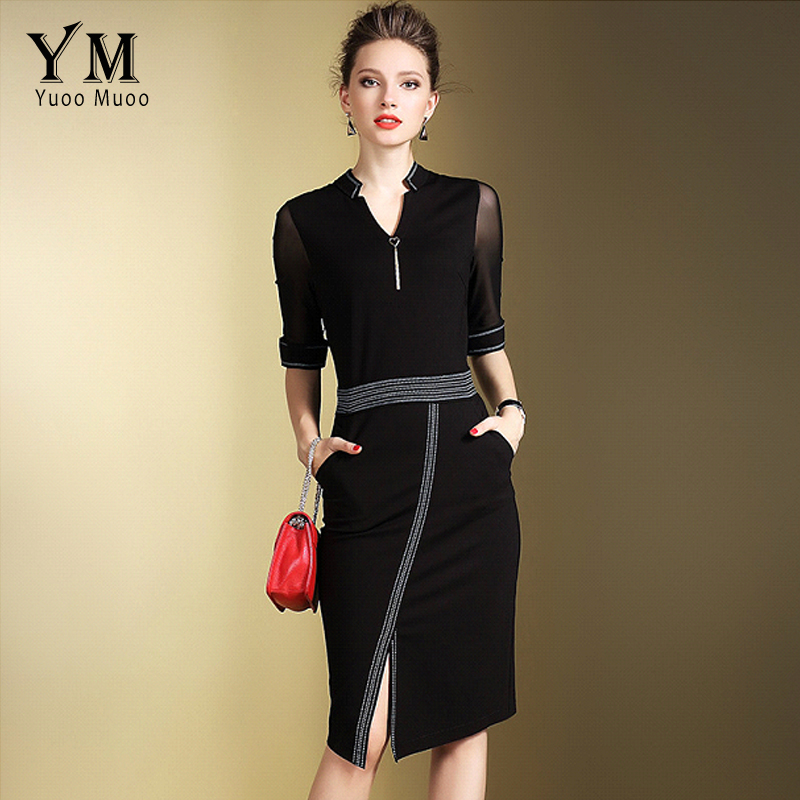 YuooMuoo New Brand Fashion Women Elegant Office Dress Front Split OL Work Dress European Design Black