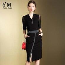 Yuoomuoo новый бренд модные женские туфли элегантная деловая модельная Одежда спереди Разделение ПР работа платье Европейский Дизайн черный, Красный Дамы Карандаш Платья