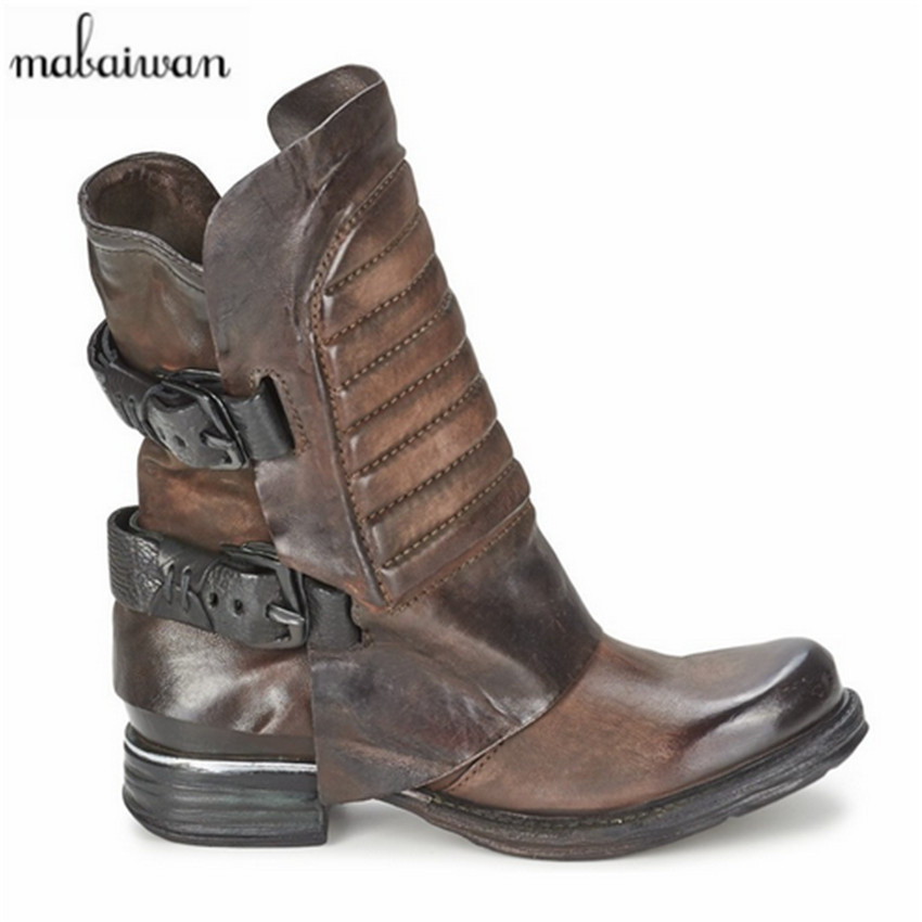 Vintage Black Genuine Leather Women Ankle Boots Square Toe Thick Heel Flat Booties Side Zipper Botas Militares Short Martin Boot