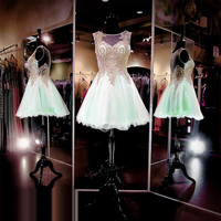 Vestido de Formatura Curto 8 Grade Graduation Dresses Cheap Homecoming Dress 2017 Mint Green Short Prom Dress Party Gowns Gold