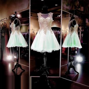 5eb9875e3 Vestido de formatura Curto 8 grado graduación Vestidos gasa vestido barato  2017 menta verde corto vestido de fiesta vestidos de oro