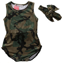 Adorable Girls Bodysuits 2PCS Camouflage Set New Infant Baby Girls Camo Sleeveless Bodysuit Jumpsuit Headband Baby Clothes 0-24M(China)