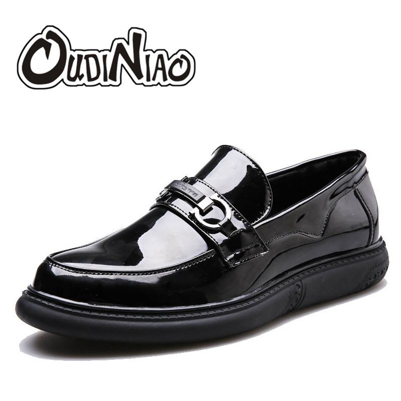 Mens Shoes Casual Thick Bottom Loafers Footwear Slip On Luxury Shoes Men Patent Leather Men's Shoes 2017 Zapatillas Hombre branded men s penny loafes casual men s full grain leather emboss crocodile boat shoes slip on breathable moccasin driving shoes