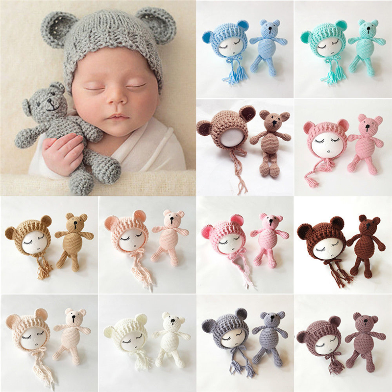 2019 New Knit Beanie Cap+ Bear Toy Newborn Baby Toddler infant Bear Photo Prop Photography Baby Knitted Cap