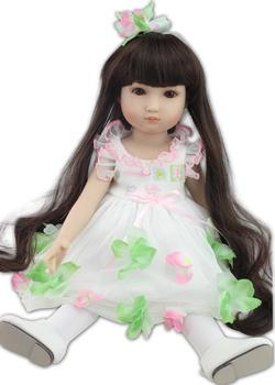 45cm bebe girl reborn doll and Pretty princess baby dress Realistic silicone Reborn Dolls vinyl girls play house toys kids gift