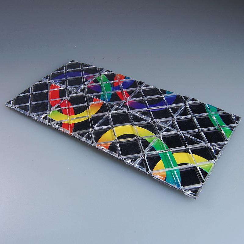 LingAo Mini 8 Panels 3 Rings Black Magic Folding Puzzle Cube Twisty