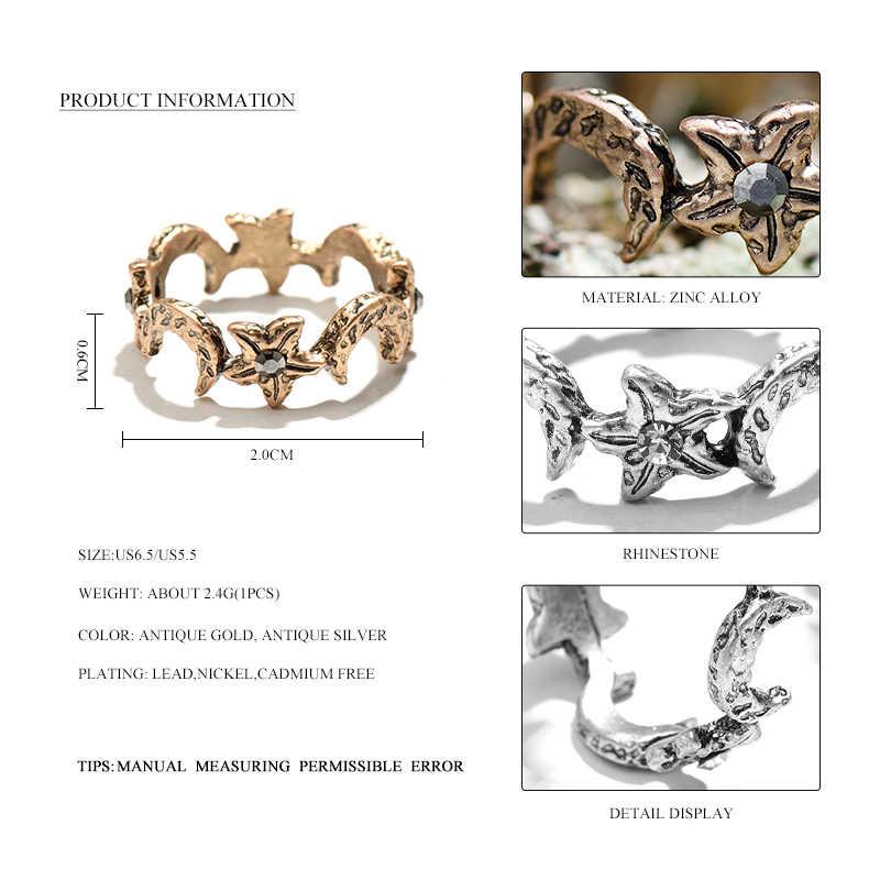 2017 New Arrival Vintage Hợp Kim Phụ Nữ Nhẫn Trang Sức Thời Trang Vàng Cổ Sao Trăng Ring Cho Ngón Tay Retro Nhãn Hiệu Trang Sức Quà Tặng