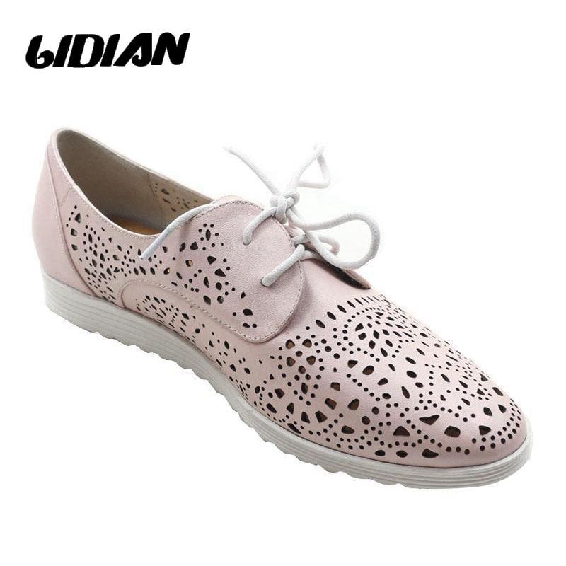 Chaussures plates d'été respirantes LIDIAN sans lacet pour femmes chaussures en cuir véritable rose à lacets perfs porter des chaussures de marche confortables P6