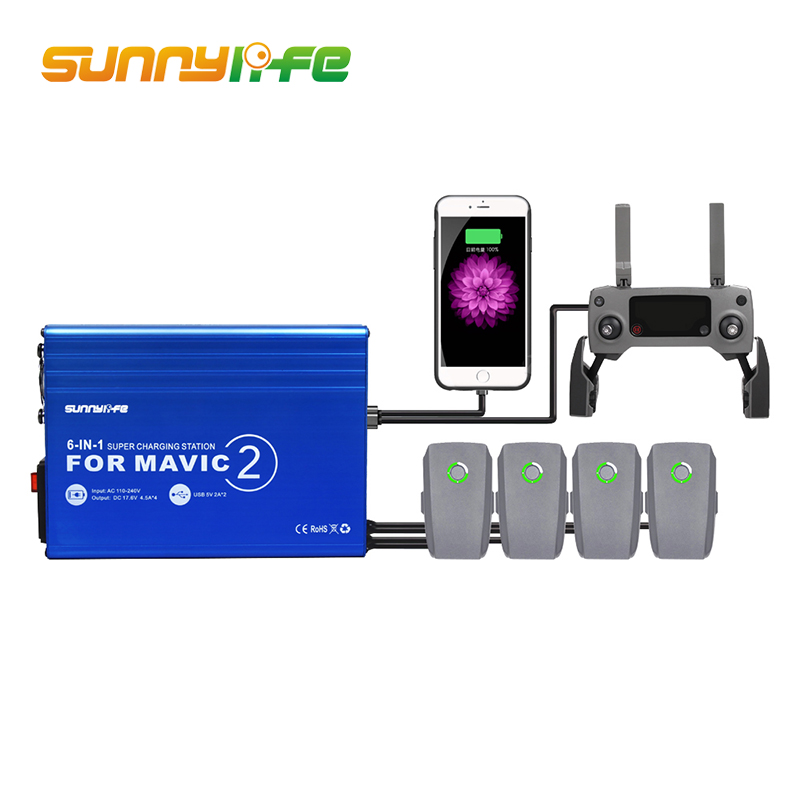 Sunnylife Charger for DJI Mavic 2 Battery Charger Hub 6 in 1 Charging Hub for Mavic 2 Pro/Zoom Drone Remote Controller Accessory original 4 in 1 mavic 2 battery charger hub smart multi battery intelligent charging hub for dji mavic 2 pro zoom accessories