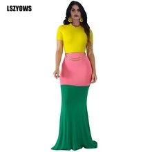 Vintage Color Block Long Dresses Women Short Sleeve Streetwear Mermaid Party Dress 2019 Summer Casual Maxi Bodycon Dress Vestido
