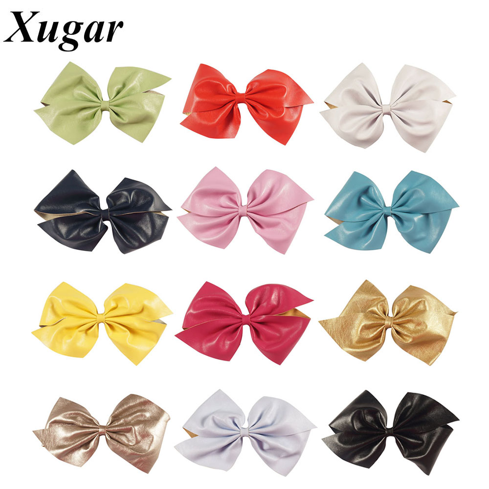 3 Pcs/lot 7'' Big Leather Hair Bows For s