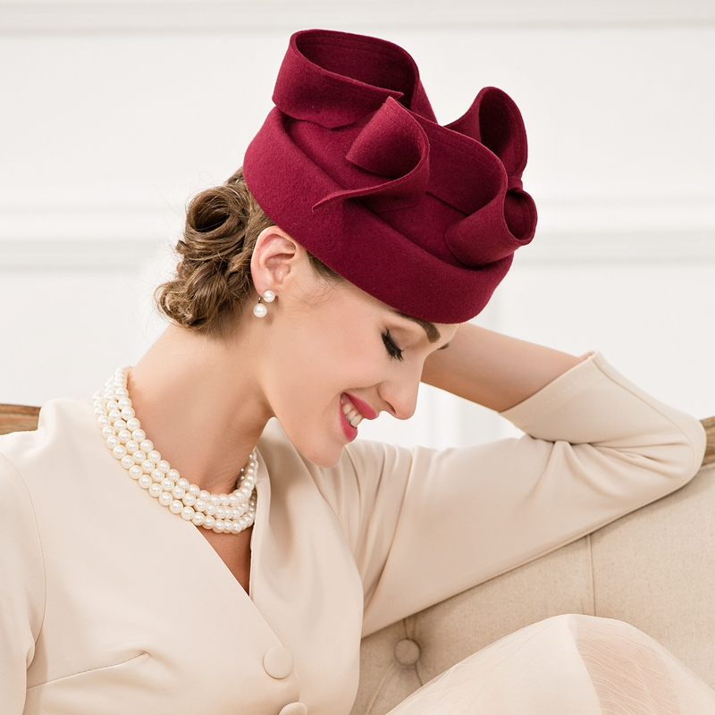 Lady New Autumn Wool Cap Female Nobles Fedoras Hat Pure Wool Vintage Wine Red Hat Small
