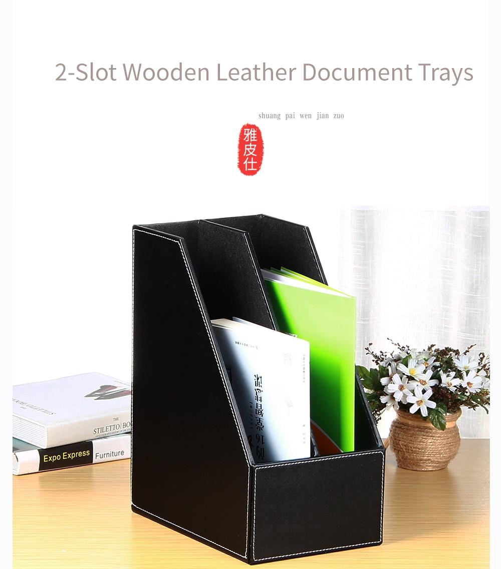 2 Slot Wooden Leather Document Trays File Holder Office Desktop File ...
