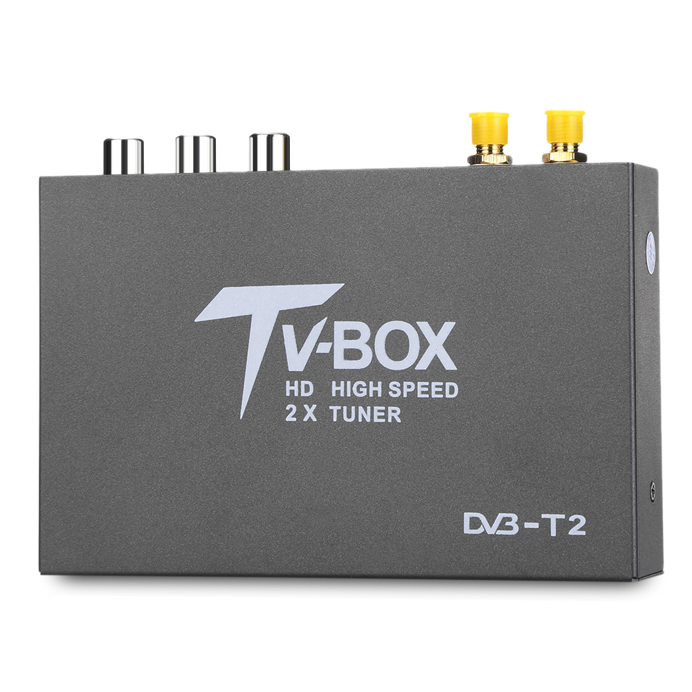T338B HD DVB - T2 Car Digital TV Tuner DVB T2 TV Box Receiver with 2 Amplifier Antenna High speed H.264 Special Design for Car wekeao box dvb t2 atsc isdb t dvb tmpeg 4 tuner dual antenna car hd digital tv turner receiver auto tv high speed two chip